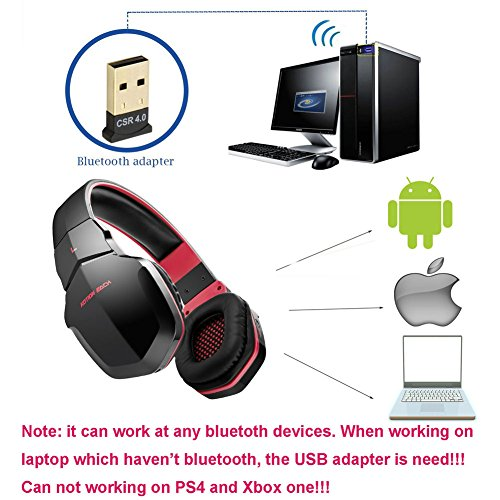 wireless gaming headset for pc v4 1 bluetooth over ear headphones with microphones noise. Black Bedroom Furniture Sets. Home Design Ideas