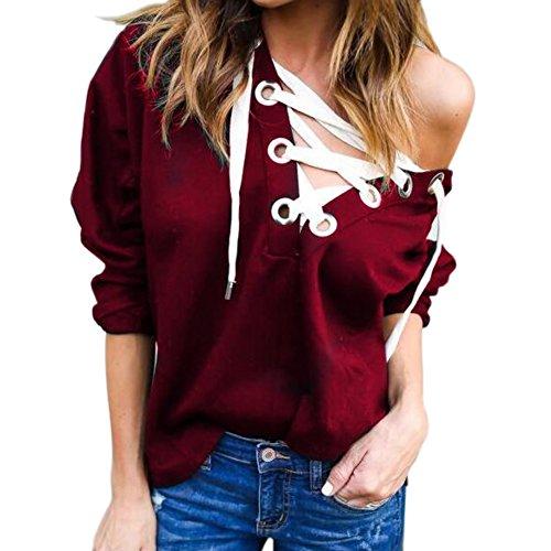 Tracksuit Tops V Autumn Hoodies Yalatan Neck Long Spring Causal Sleeve Women Red Sweatshirts Bandage Pw7Yqd7