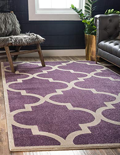 Modern Geometric 3 feet by 5 feet (3' x 5') Trellis Purple Contemporary Area Rug