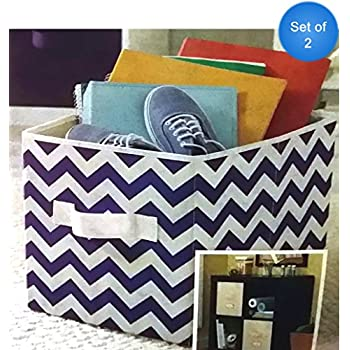 Better Homes And Gardens Collapsible Fabric Storage Cube, Set Of 2 (Purple  Chevron)