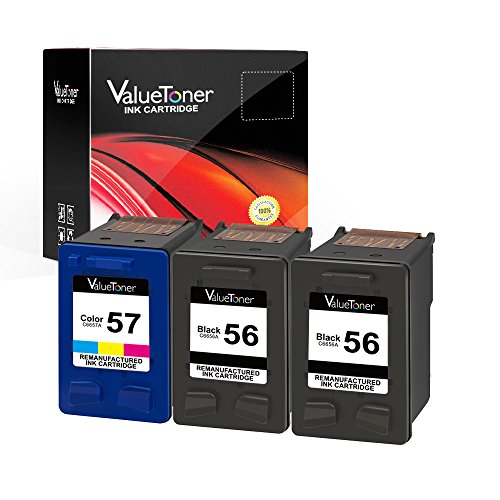 Valuetoner 3 Pack Remanufactured Ink Cartridges for HP 56 & HP 57 CD944FN C6656AN C6657AN, (2 Black, 1 Tri-Color) for HP Deskjet 5850 5650 5150, Photosmart 4215 7150 7260 7350 7960, PSC 2510 Printer