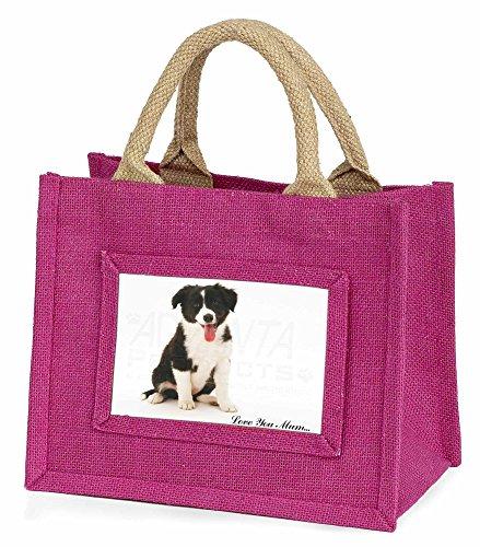 Advanta–Mini Pink Jute Tasche Border Collie Love You Mum Little Mädchen klein Einkaufstasche Weihnachten Geschenk, Jute, pink, 25,5x 21x 2cm