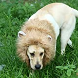 Onmygogo Lion Mane Wig for Dogs with Ears, Funny Pet Costumes for Halloween Christmas (Size L, Brown)