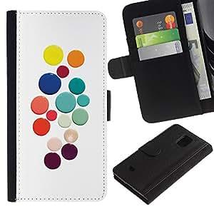 UberTech / Samsung Galaxy S5 Mini, SM-G800, NOT S5 REGULAR! / Pastel Color White Dots Colorful / Cuero PU Delgado caso Billetera cubierta Shell Armor Funda Case Cover Wallet Credit Card