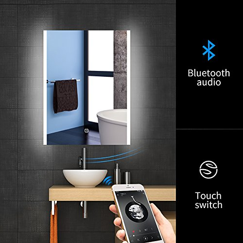 24'' X 32'' Bathroom Bluetooth Makeup Wall Mirror, Fensalir LED Wall Mounted Lighted Vanity Bathroom Slivered Mirror with Bluetooth and Antifogging by WillanFS