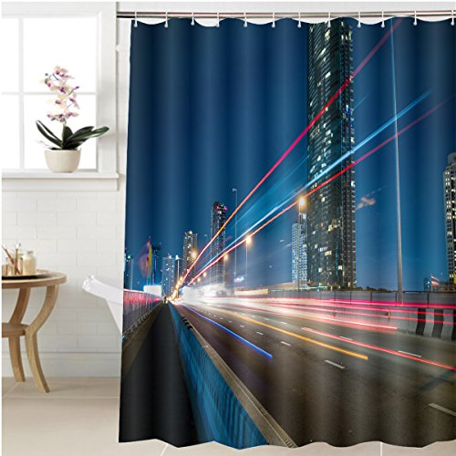 Gzhihine Shower curtain night city with speed light ray from car vehicle on the road Bathroom Accessories 40 x 72 inches (Light Cars 6 Of Road Round Chrome)