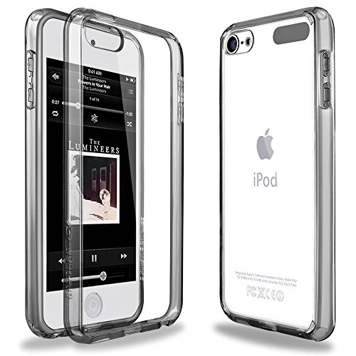 iPod Touch 6 Case,iPod Touch 5 Case,ENDLER [Fusion][CLEAR SLIM] Hybrid Premium TPU Bumper Scratch Resistant Hard Clear Back Panel Shock Absorption Case for Apple iPod Touch 5th 6th Gen (Crystal Gray)