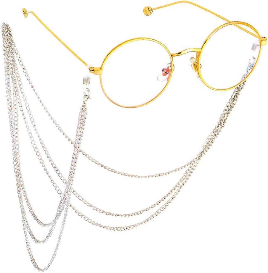 Color : Gold LXUA Catena per Occhiali Catena in Vetro Antiscivolo for Occhiali in Metallo Corda Multi-Strato in Nappa for Imitazione di Occhiali Fatti a Mano in Catena Catena per Occhiali