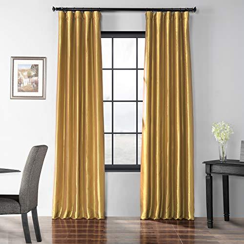 HPD Half Price Drapes PTCH-BO404-108 Blackout Faux Silk Taffeta Curtain, 50 x 108, Golden Spice (Curtains Spice)