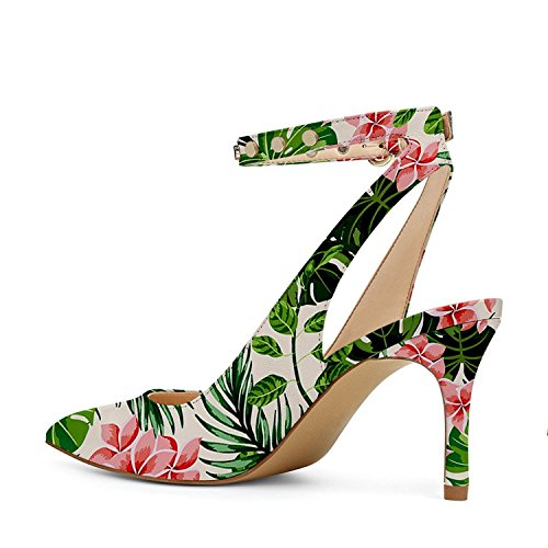 Strap Women with YDN Forest Low Slingback Dressy Ankle Pumps Rain Shoes Pointy Heel Toe Studded 0wgpdxgq