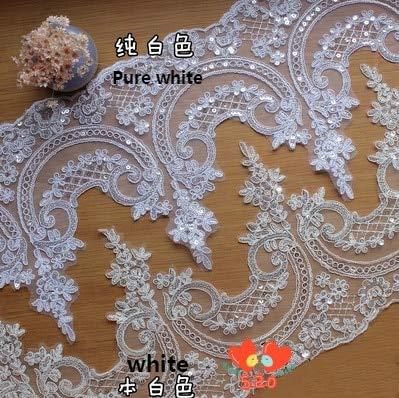 Lace Crafts - F Grilles 3Yard /lot Applique Lace Decoration Paillette Wedding Dress DIY Fabric Material 24cm - (Color: Beige)
