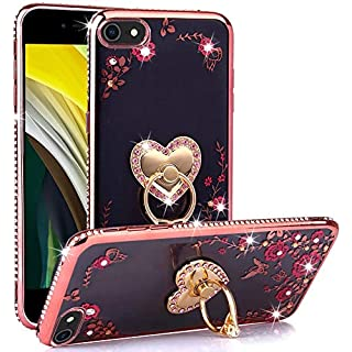 CaseHaven New iPhone SE 2020 Case/iPhone 8 Case/iPhone 7 Case, Glitter Crystal Heart Floral Series - Slim Luxury Bling Rhinestone Clear TPU Case with Ring Stand for New iPhone SE - Rose Gold