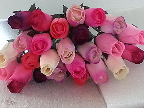 2 Dozen Wooden Roses Mixture of 8 Colors-Little Chicago Distributing ()