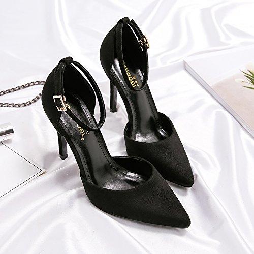 versátil hembra high 8CM y sandalias negra chica Qiqi Correa con punta correa negro ranurada Xue fina heels qv6Fn
