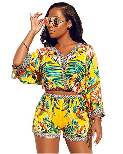 - Two Piece Outfits for Women Sexy - African Printed Crop Top Shorts Set Green M