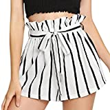 Paymenow Shorts for Women Clearance Women Casual Summer Shorts Striped High Waist Packet Short Pants Jersey Short with Belt (XL, White)