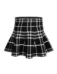 Storeofbaby Little Big Girls Skirt High Waist Knitted Flared Pleated Skater Skirts Casual