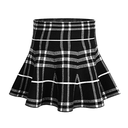 Little Girl's High Waist Plaid Stretchy Pleated Skater Skirt (7-8 Years/Asian Size 4/Fits 140 cm Tall,Black White)