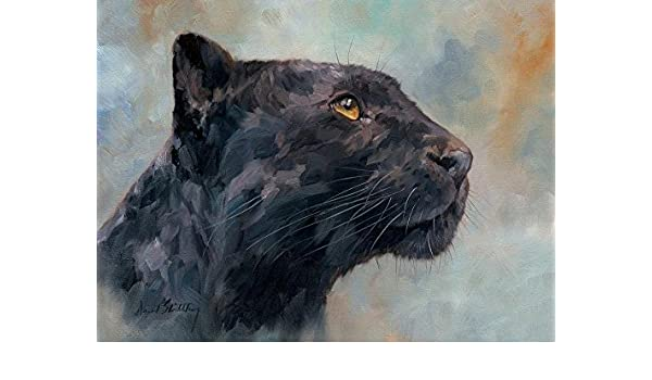 Amazon Com Real Hand Painted Black Panther Canvas Oil Painting For