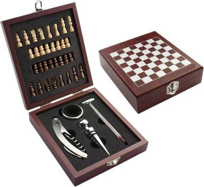 ARM STYLE Wooden Chess Board Game Wine Gift Set with Wine Opener, Drip Collar, Bottle Stopper, Wine Thermometer and 32 miniature chess pieces Best Gift for Christmas , wine lover ,wedding ,friends .