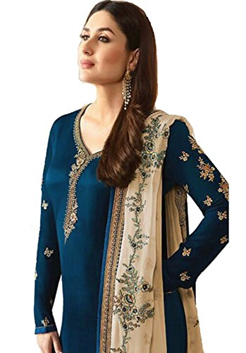 Delisa Ready Made New Designer Indian/Pakistani Fashion Dresses for Women (Crape Blue, 2X PLUS-52)