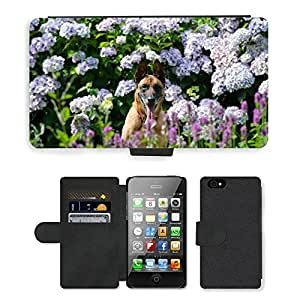 Hot Style Cell Phone Card Slot PU Leather Wallet Case // M00111519 Garden Dog And Garden Hydrangea // Apple iPhone 4 4S 4G