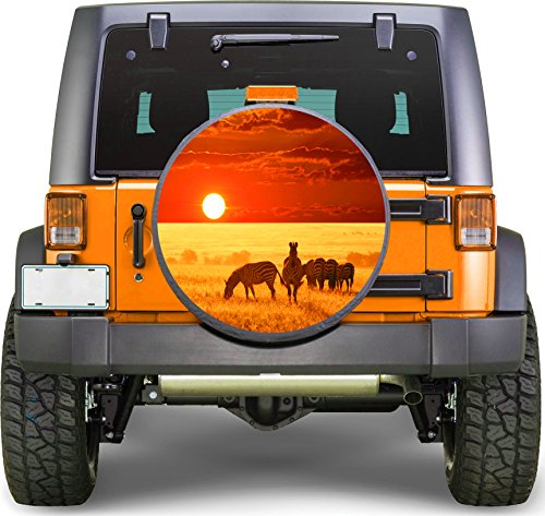 Africa Zebras Sticker Full Color Spare Tire Cover Decal, Sticker Wheel Cover gc1977