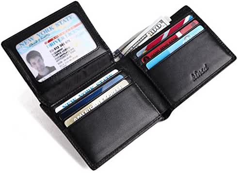 Men's Leather Wallet, Bifold Slim Woven Business Wallet with RFID Blocking