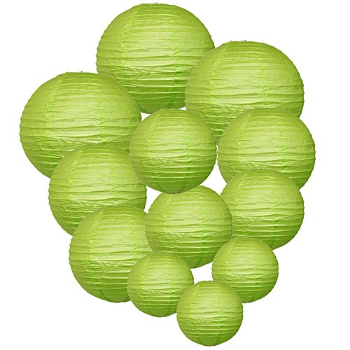 Just-Artifacts-Decorative-Round-Chinese-Paper-Lanterns-12pcs-Assorted-Sizes-Color-Light-Green