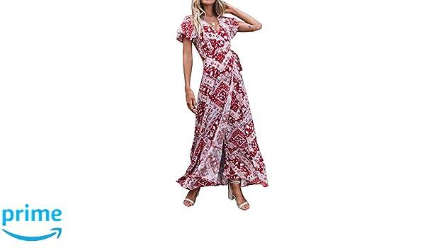 Plus Size Maxi Dress Floral Split Short Sleeve Women Long Wrap Dress