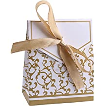 DriewWedding 50PCS Floral Pattern Wedding Bridal Favor Candy Gift Box Kit with Satin Ribbon, Chocolate Candy Party Table Decor Treat Box Wrappers Holders (Gold)