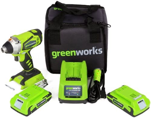 Greenworks 37032B G-24 24V Impact Driver, 2 2Ah Batteries and Charger Included
