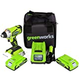 Greenworks 24V Cordless Impact Driver, 2.0 AH Battery Included 37032B