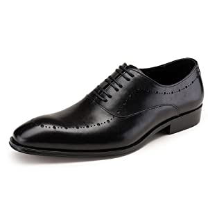 Men Genuine Leather Lace up Oxford Perforated Pointed Toe Formal Dress Shoes (8, Black)