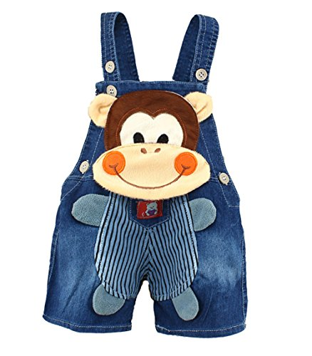 Kidscool Baby Summer Cotton Denim 3D Cartoon Monkey Soft Shorts Overalls (2-3 Years)