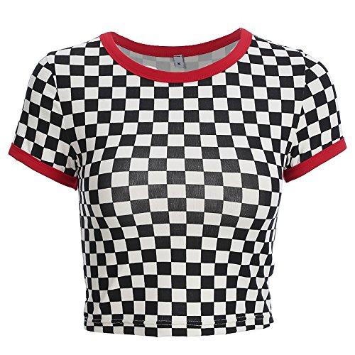 Women Sexy Checkerboard Short Sleeve O-Neck Vogue T-Shirt Streetwear Femme Tee Shirt (M)