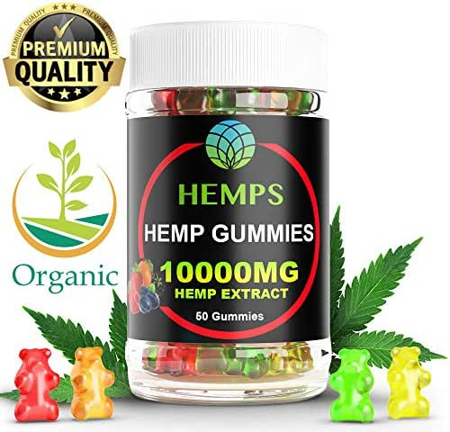 Premium Hemp Gummy Bears , 50 Count, 200mg Per Gummy (10000mg), Natural Calm, Sleep Aid, Stress, Pain and Anxiety Relief, Inflammation, Nausea, Pure Naturally Occurring Hemp Oil Organic