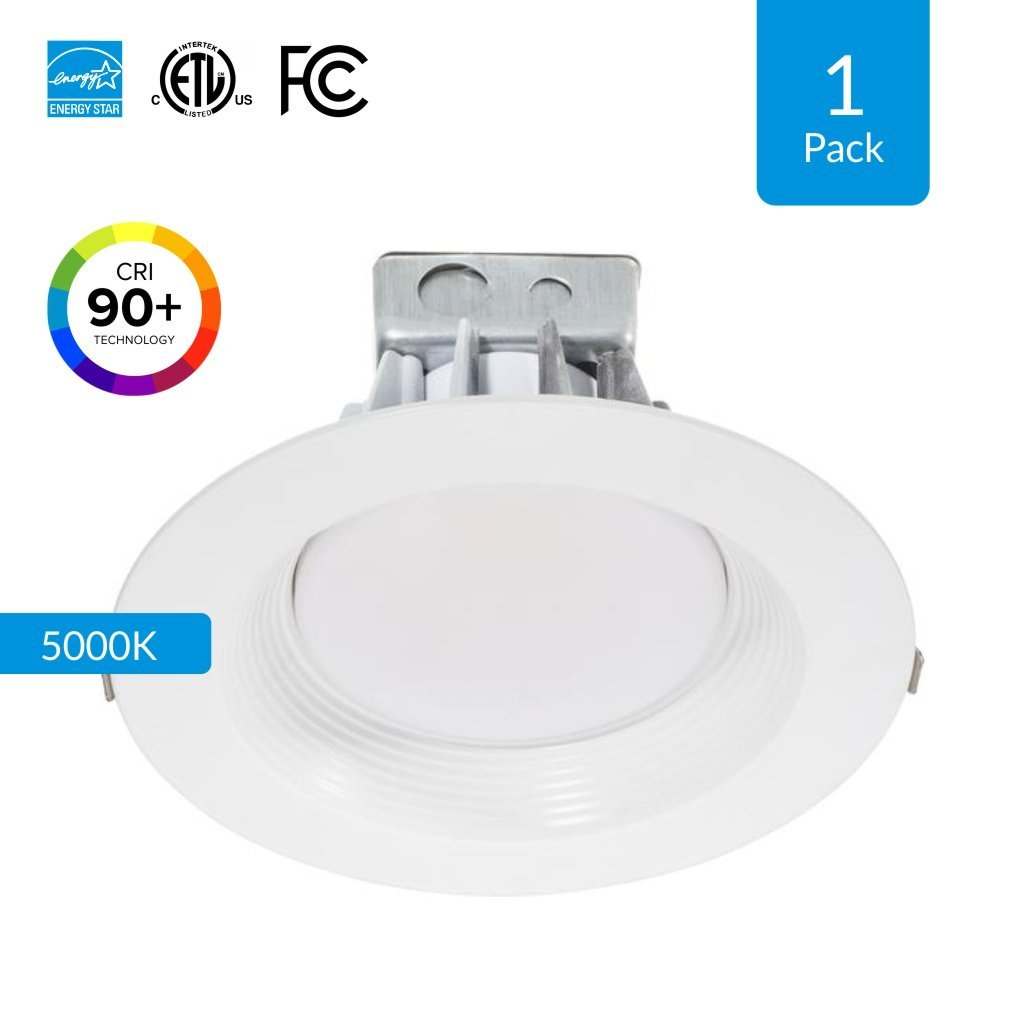 1-Pack 8-inch LED Downlight with Junction Box, 30W(Replaces 200 Watt), 2230 Lumens, 5000K (Day Light) CRI 90+ [High CRI], Slim body to fit in sloped and shallow, cETLus, Energy Star & FCC approved
