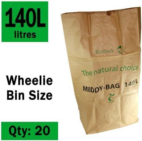 140 litros x 20 bolsas de basura biodegradables y compostables ...