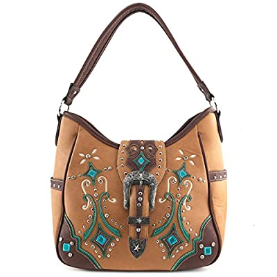 Justin West Tooled Floral Embroidery Buckle Studded Concealed Carry Tote Purse