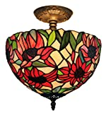 Amora Lighting Tiffany Style Sunflowers Ceiling Pendant Hanging Lamp 12 in