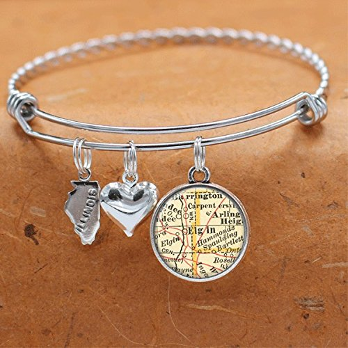 - Map Charm Bracelet Elgin IL State of Illinois Vintage Map Jewelry