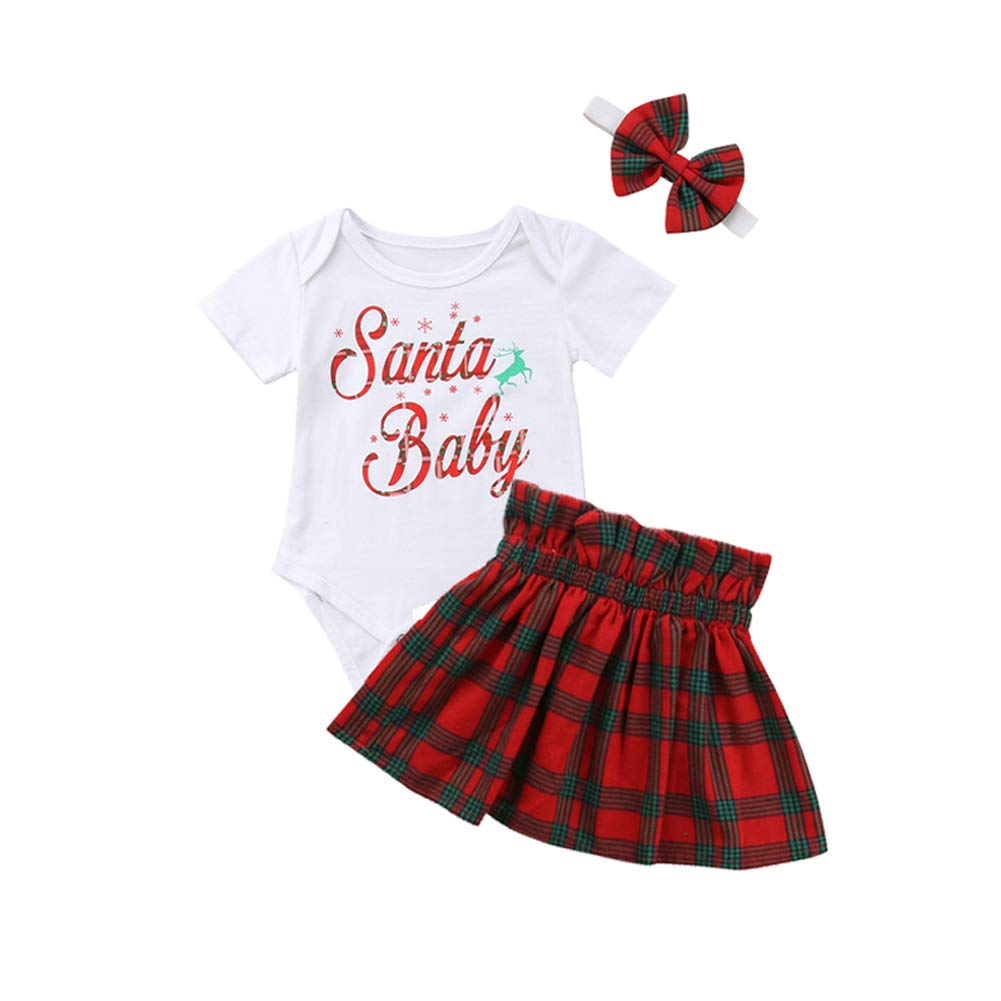Christmas Newborn Infant Baby Girl Clothes Short Sleeve Romper Skirt Headband 3pcs Set Outfit Santa Baby Print