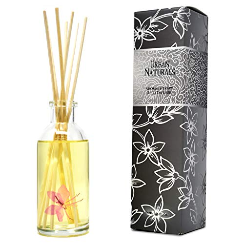 Urban Naturals Peach Blossom Reed Diffuser Scent Sticks Gift Set | Sweet Peaches, Red Currants, Orange & Light Florals | Real Flower in Every Bottle | Fabulous Home Fragrance & Decor Gift Idea