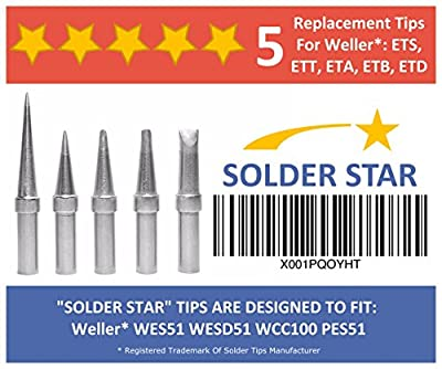 Best Weller ET Solder Tips Replacement Set - 5 Extra Long Life Soldering Iron Tips (ETA ETT ETB ETS ETD) - For WES51 WESD51 WCC100 PES51 WE1010NA EC1201A EC2000