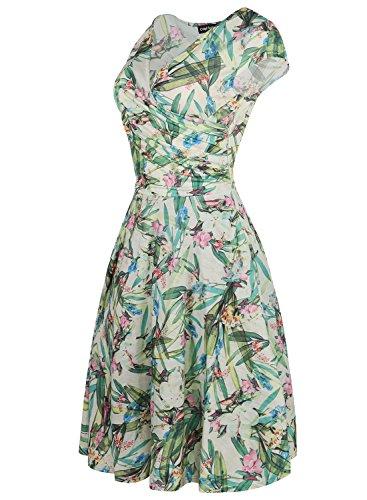 Vestito Di Manicotto Verde V Più collo Floreale Protezione Del Oscillazione Casuale Partito Cocktail Il Oxiuly Erba Ox233a Epoca Della Femminile PqI5Z