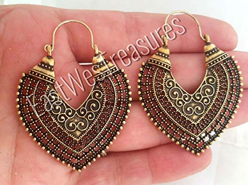 Large Gold Brass heart Hoop Moroccan Aztec Ethnic Tribal Gypsy Turkish earrings-Ethnic Tribal -