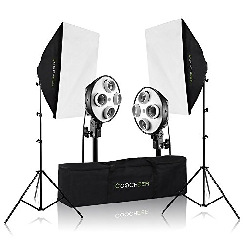COOCHEER 2x Photography Softbox Light ,4-Socket Light Bank Professional Lighting Kit Photo Equipment Soft Studio Continuous Video Lighting Softbox 50X70(without bulb)