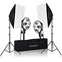 COOCHEER 2x Photography Softbox Light ,4-Socket Light Bank Lighting Kit Photo Equipment Soft Studio Continuous Light Softbox 50X70(without bulb)only take few seconds to set up (Size 1, Color 1)