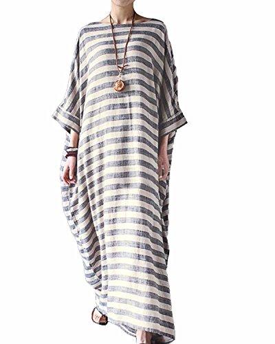 029d5ad856 LANISEN Women s Vintage Striped Plus Size Cotton Linen Loose Kaftan Maxi  Dress S-5XL
